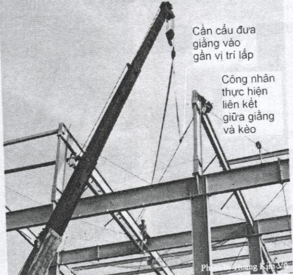 Lắp giằng mái nhà thép