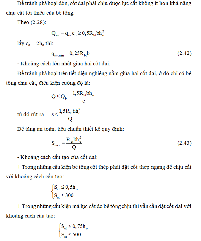 Cách tính khoảng cách giữa các cốt đai