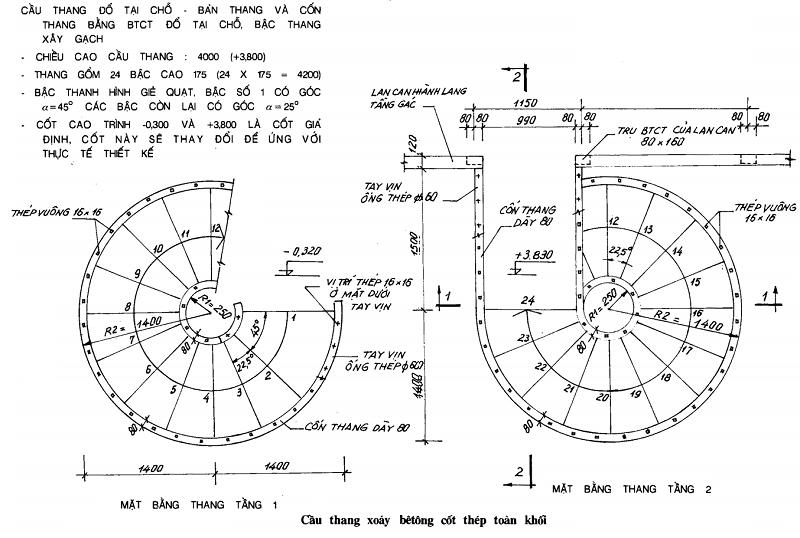 Cấu tạo Cầu thang xoáy tròn toàn khối và lắp ghép
