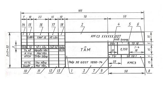 Mẫu khung tên bản vẽ kỹ thuật sử dụng trong sản xuất