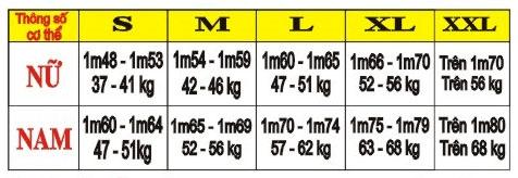 Bảng size chuẩn theo số đo cân nặng của nam và nữ
