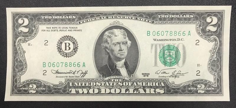 Giá trị tờ tiền 2 đô qua các năm