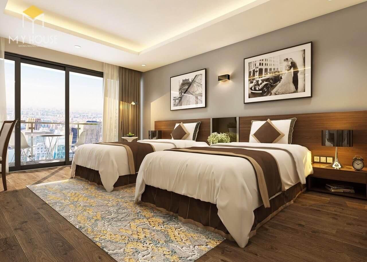 Mẫu phòng ngủ khách sạn 4 sao đã thi công hoàn thiện